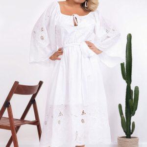 Купить белое oversize платье из батиста для женщин с вышивкой (размер 48-58) по скидке