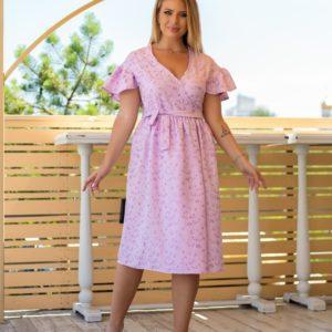Купить сиреневого цвета на запах платье с вышивкой женское со спущенными плечами (размер 48-64) недорого