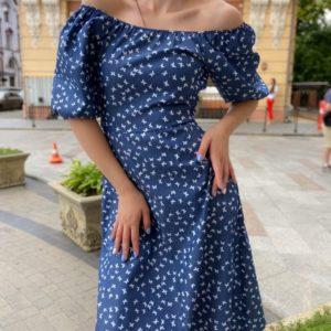 Купить синего цвета платье с принтом из джинса с открытыми плечами и спиной для женщин недорого
