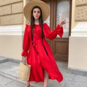Купить красное платье-рубашку для женщин с длинным рукавом и открытыми плечами (размер 42-50) по скидке