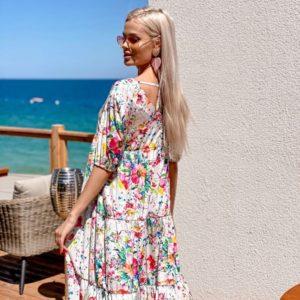 Купит белое платье для женщин oversize летнее с яркими цветами длины миди (размер 42-52) в Украине