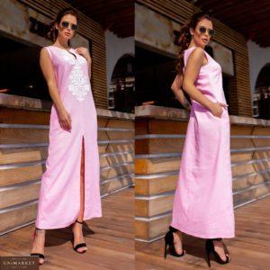 Купить женское платье розового цвета длины макси из льна с узором (размер 42-48) выгодно