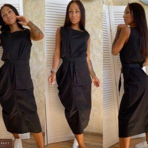 Приобрести женское черного цвета платье миди из хлопка с поясной сумкой в комплекте (размер 42-56) недорого