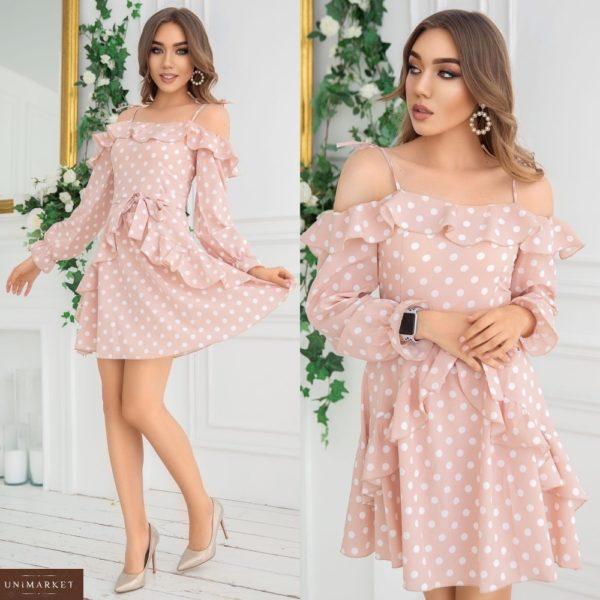Купить пудровое платье для женщин на лето с открытыми плечами в горошек с рюшами (размер 42-48) выгодно