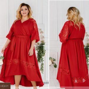 Купить красное женское летнее платье с кружевом и асимметричным подолом (размер 48-62) недорого