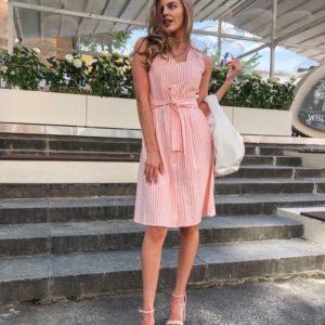 Придбати жіночу сукню з льону персикового кольору в вертикальну смужку онлайн