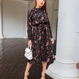 Купить черное закрытое платье миди для женщин с поясом недорого