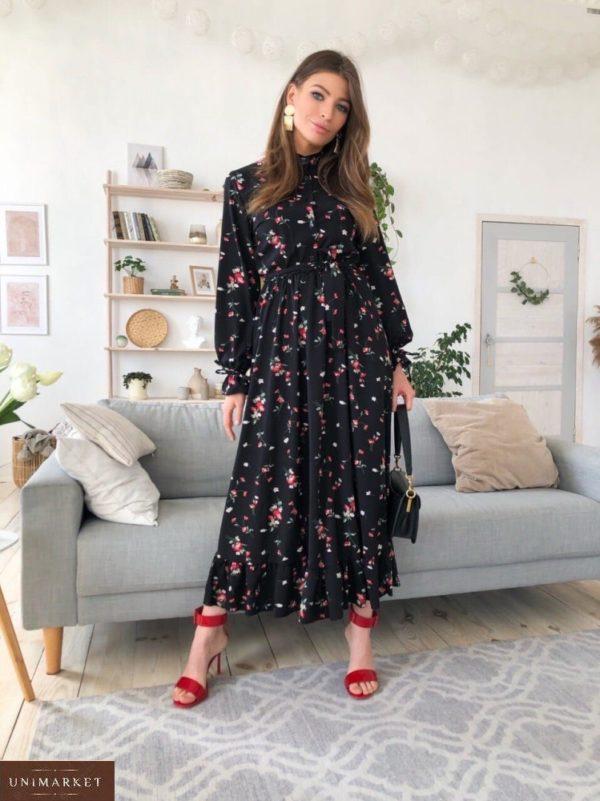 Купить женское черного цвета принтованное платье с длинным рукавом с поясом (размер 42-50) онлайн