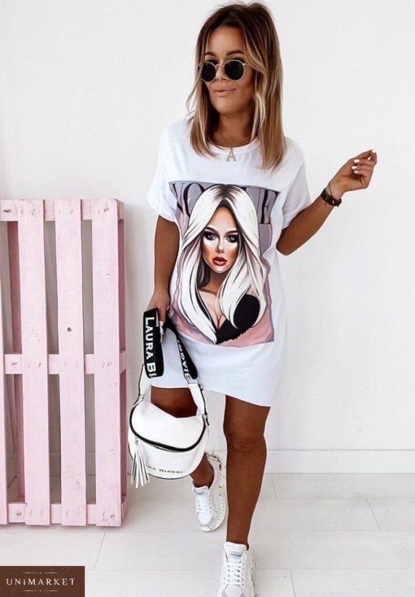Заказать белого цвета женское трикотажное платье-футболка с принтом Vogue (размер 42-50) по низким ценам