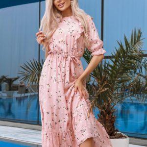 Купить женское цветочное платье с рюшами и поясом розового цвета (размер 42-48) в Украине