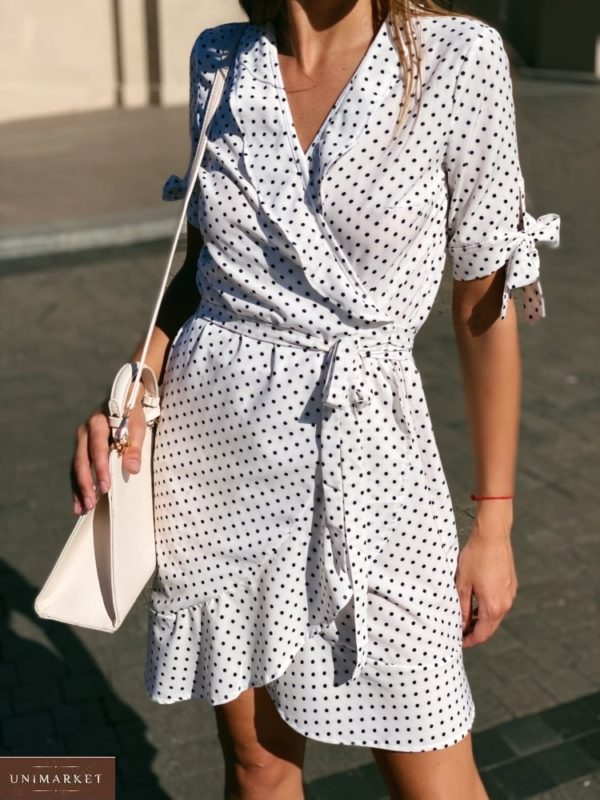 Приобрести белое платье в горошек для женщин на запах с завязками на рукавах онлайн