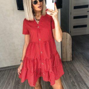 Купить женское летнее красное платье с рюшами в горошек (размер 42-52) в Украине