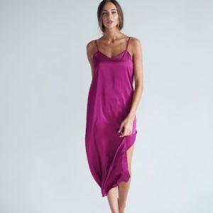 Купить фуксия женское платье комбинация из шелка armani с разрезом по скидке