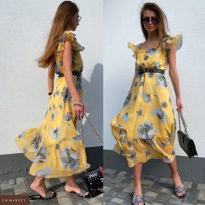 Купить желтое женское нежное платье в цветочный принт с рукавами-бабочками недорого