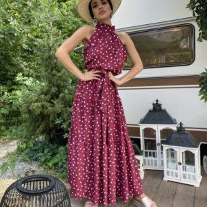Купить бордо горох женское платье макси с горловиной с открытыми плечами недорого