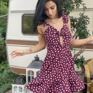 Заказать женское летнее бордовое платье в горошек с нежными рукавами в Украине