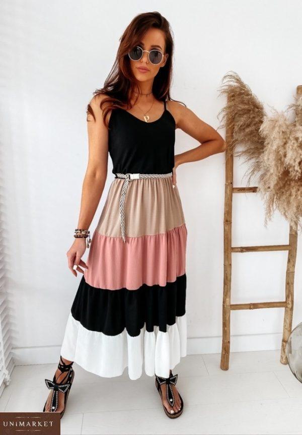 Заказать розовое женское длинное платье на бретельках с многоцветной юбкой (размер 42-48) по скидке