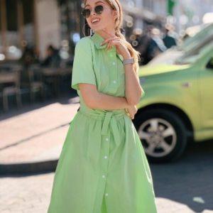 Заказать салатовое женское платье-рубашка из хлопка длины миди онлайн