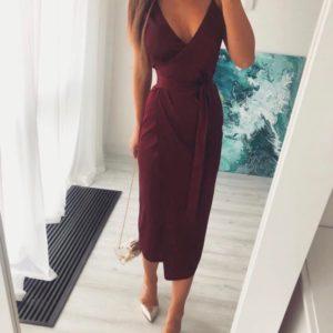 Заказать марсала женское платье на запах на бретельках из шелка армани (размер 42-50) дешево