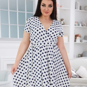Купить белое женское платье в горошек на запах с асимметричным подолом (размер 50-56) в Украине