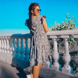 Купить женское серое платье свободного кроя из батиста (размер 50-56) в Украине