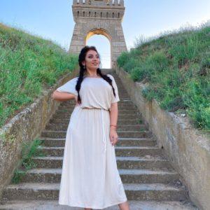 Заказать беж женское легкое платье миди с поясом в комплекте из коттона (размер 42-56) дешево