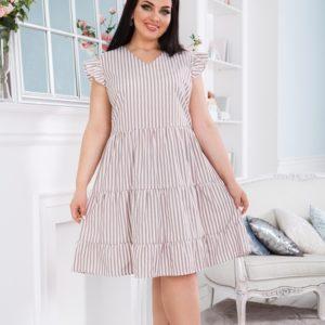 Заказать беж женское платье в вертикальную полоску с рюшами (размер 42-56) онлайн