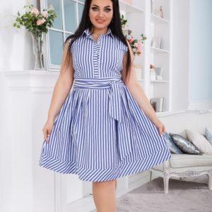 Заказать женское голубое платье в вертикальную полоску с поясом (размер 42-52) онлайн