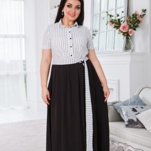 Купить женское черно-белое длинное платье в пол с имитацией рубашки (размер 50-52) недрого