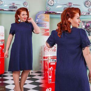 Заказать синее женское платье из льна с кружевом на рукавах (размер 50-52) выгодно