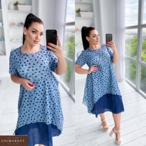 Купить синее женское легкое платье в горошек из батиста (размер 50-56) выгодно