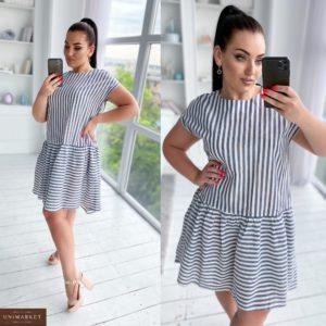 Купить серое женское платье из льна в вертикальную и горизонтальную полоску (размер 50-56) выгодно