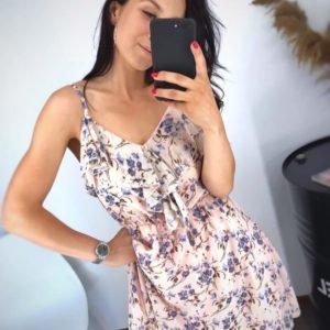 Заказать пудра женское легкое принтованное платье из хлопка с шифоном по скидке