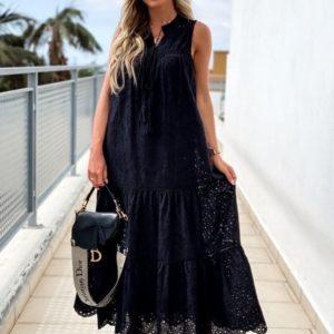Заказать черное женское платье макси и прошвы с воланами дешево