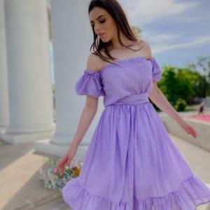 Заказать сиреневое женское легкое платье с открытыми плечами из хлопка онлайн