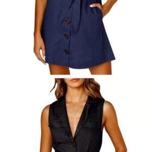 Приобрести синее, черное женское летнее платье-рубашку из стрейч коттона по низким ценам