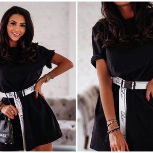 Заказать черное женское трикотажное платье-футболка с поясом онлайн