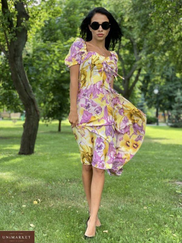 Купить сирень/желтое женское нежное платье миди с принтом с рукавами-фонариками по скидке