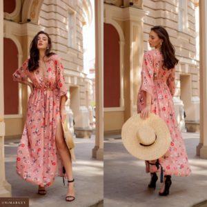 Заказать розовое женское нежное платье макси из натуральной ткани с декольте недорого
