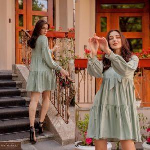 Приобрести оливковое женское свободное платье с воланами с завязкой на шее (размер 42-52) дешево