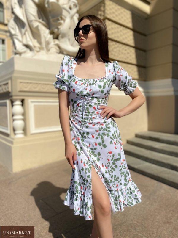 Заказать принтованное белого цвета платье на запах миди длины с рукавами-фонариками для женщин (размер 42-48) на лето онлайн