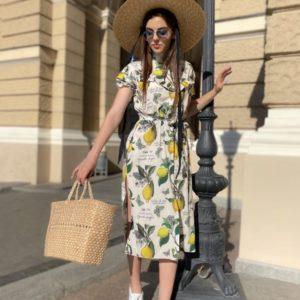 Купить платье с разрезами по бокам для женщин белое с принтом лимоны по низким ценам