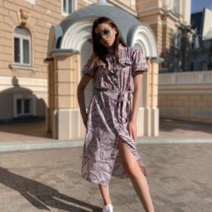 Купить женское платье-рубашку сиреневого цвета с рукавами-фонариками и поясом недорого