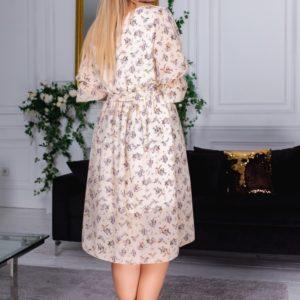 Купить шифоновое бежевое платье миди для женщин в цветы с рукавами 3/4 (размер 48-60) баталы выгодно