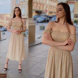 Приобрести женское на лето платье из штапеля с мелким принтом с резинками горчичного цвета(размер 42-58) в Украине