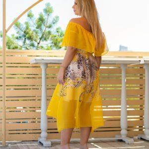 Приобрести женское шифоновое платье желтого цвета с принтом с открытыми плечами размера 48-62 XL+ баталы дешево