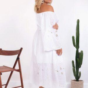 Заказать женское платье oversize из батиста с вышивкой белого цвета (размер 48-58) недорого
