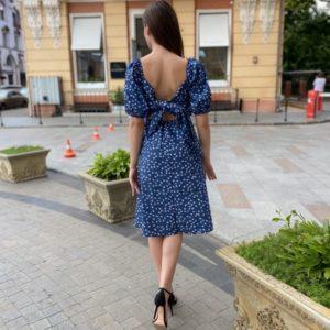 Приобрести синее платье джинсовое женское с открытыми плечами и спиной недорого