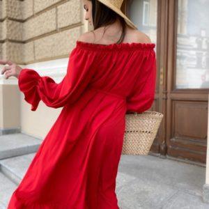 Приобрести женское с открытыми плечами красное платье-рубашка с длинным рукавом (размер 42-50) недорого
