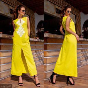 Купить желтое платье для женщин макси из льна с узором (размер 42-48) по скидке